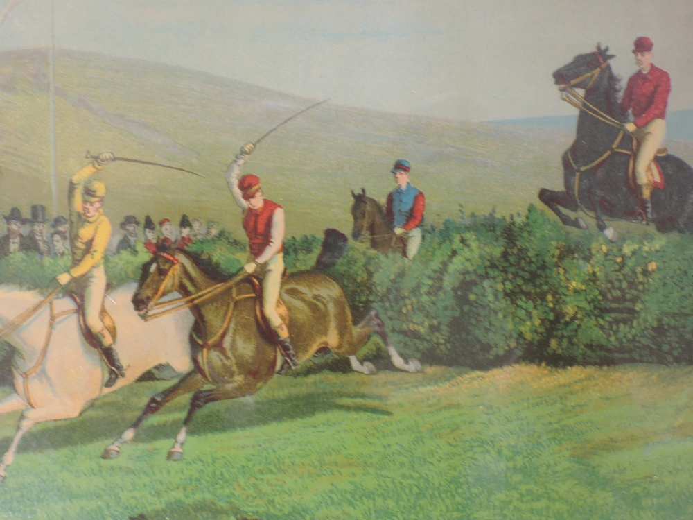 A set of four re-prints, steeple chase interest, 14 x 19cm, a similar print, framed and glazed, - Image 3 of 5