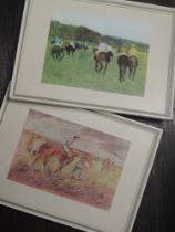 Two prints, after Lautrec and Degas, horse racing interest, 15 x 20cm and 16 x 20cm, plus frame