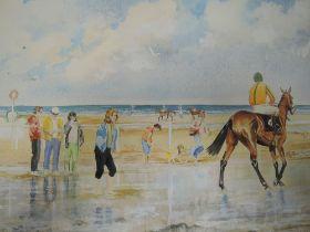 A watercolour, De la Roche, Layton Races Ireland, beach scene, signed, 43 x 58cm, plus frame and