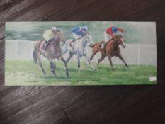 A print, after Roger Heaton, horse racing interest, 25 x 61cm
