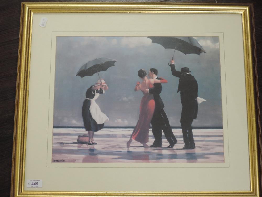 A pair of prints, after Jack Vettriano, umbrella dances, 30 x 39cm, plus frame and glazed - Image 2 of 2