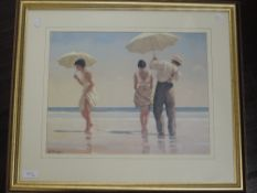 A pair of prints, after Jack Vettriano, umbrella dances, 30 x 39cm, plus frame and glazed