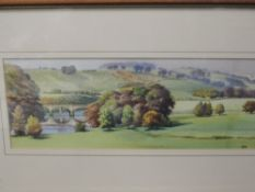 A watercolour, Philip Marriner, Crook of Lune, initialled, and attributed verso, 12 x 31cm, plus