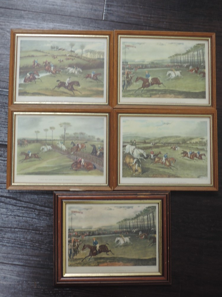 A set of four re-prints, steeple chase interest, 14 x 19cm, a similar print, framed and glazed,