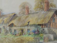 A pair of watercolours, Ernest T Potter, thatched cottages, Ann Hathaways cottage and Welford on