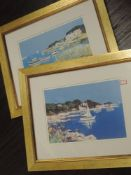 A pair of prints, after Ernest, coastal landscapes, 24 x 34cm, plus frame and glazed, and three