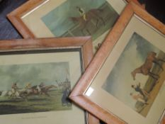 Three re-prints, after Herring and Alken, race horses, 24 x 30cm, plus frame and glazed