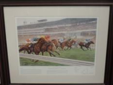 A print, after Paul Hart, Buckingham Racecourses of Britain- Ascot, 47 x 59cm, plus frame and
