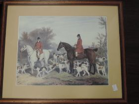 A set of four re-prints, hunting interest, 42 x 52cm