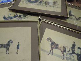 A set of twelve prints, after Carl, horse and carraiges, each 25 x 39cm, plus frame and glazed