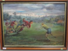 An oil painting, J D Pearce, Vale of Lune RUFC in Full Cry, signed and attributed verso, 50 x
