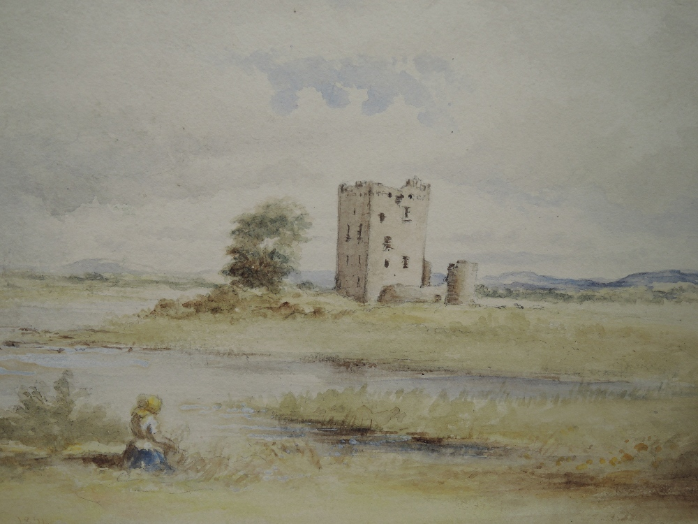 A watercolour, fortified manor/castle, 19th, 18 x 26cm,