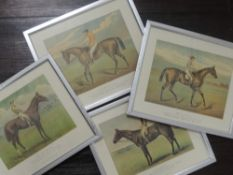 A set of four re-prints, horse racing interest, 20 x 25cm, plus frame and glazed