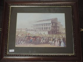 Two re-prints, horse racing interest, 28 x 38cm , and 38 x 48cm, plus frame and glazed