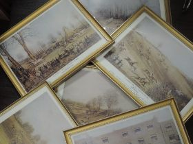 A set of six re-prints, after Pollard, St Albans Grand Steeple Chase, 30 x 40cm, plus frame and