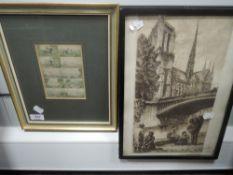 Three prints, Levens Hall, C19th, each 22 x 28cm, plus frame and glazed, a print, Bailrigg House