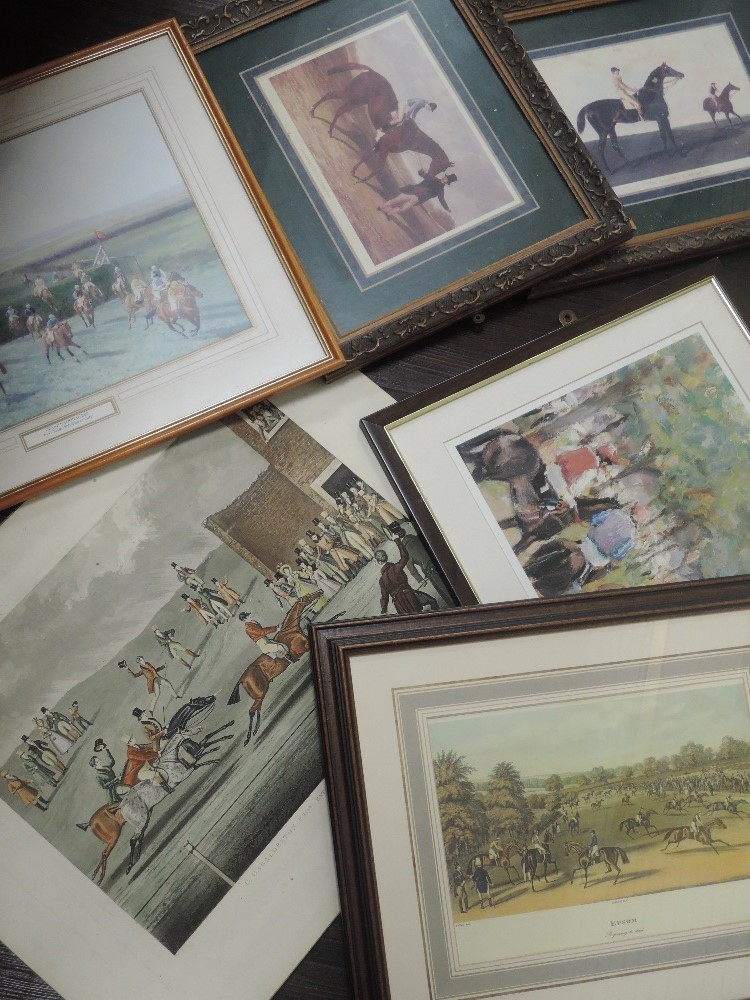 A variety of six prints, horse racing interest, inc Epsom re-print, 23 x 30cm, plus frame and