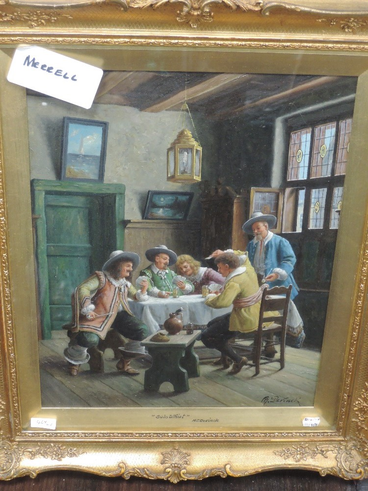 A pair of oil paintings, H C Devinck, An Amusing Story, and Solo Whist, tavern scences, each 49 x - Image 4 of 4