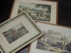 Three re-prints, horse and hound interest, inc, after Pollard, Preparing for the chase, 25 x 34cm,