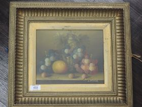 An oil painting, L Skinner, still life, signed, 19 x 23cm, plus frame and glazed