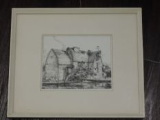 An etching, after, Andres Jaques, provincial country landscape, 14 x 22cm, plus frame and glazed,