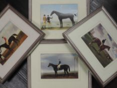 A set of four re-prints, horse racing interest, inc after Lacretelle, Harvester with Arthur Yates