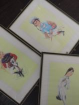 Three prints, after Ireland, Racing Characters, 33 x 26cm, plus frame and glazed
