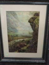 A print, Highland cattle, 50 x 34cm, plus frame and glazed, and a poster print, Playhouse Creatures,