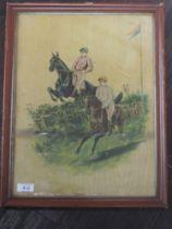 A print, Victorian horse racing interest, C19th, 40 x 30cm, plus frame