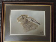 A print after, R Fletcher, hare, signed and dated 2004, 20 x 27cm, and three prints, hares, inc