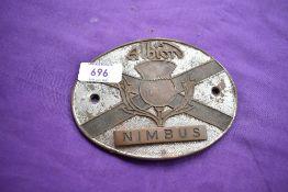 An Albion Nimbus radiator badge.