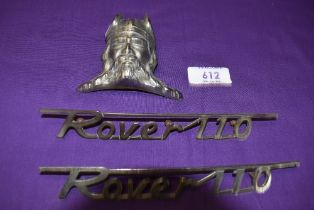 A selection of motor car engine badges for the Rover 110