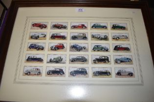 A set of framed vintage cigarette cards by Players for the Motor car series