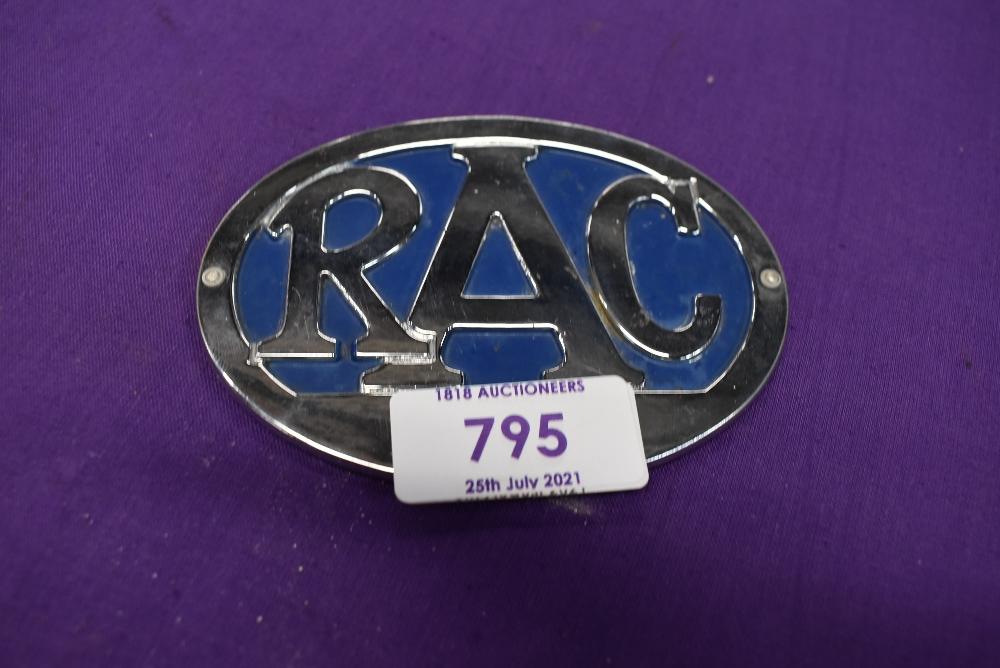 A vintage motor car engine hood badge for RAC