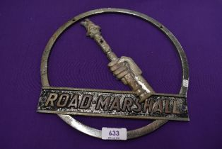 A vintage cast metal sign for Road Marshall
