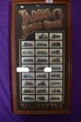 A set of framed collectable cigarette cards by Taddy Myrtle Grove