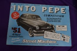 A vintage card advertising sign for Pepe Jeans and Ford Murcury