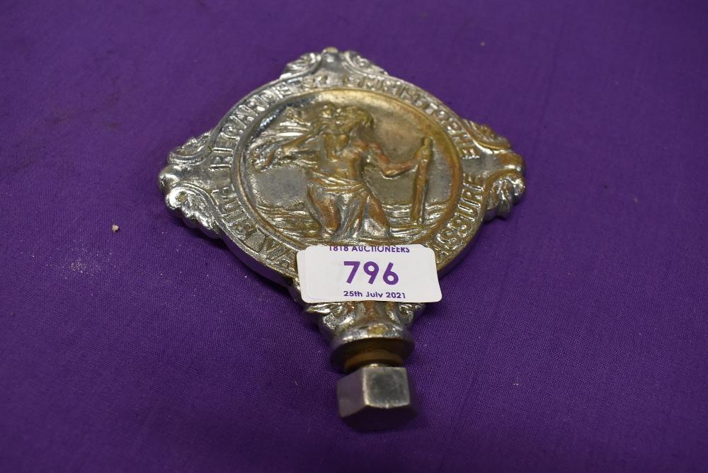 A vintage motor car engine hood badge for commercial vehicles St Christopher