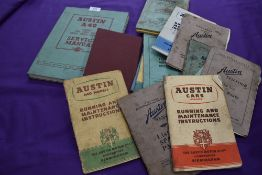 A selection of ephemera and instruction manuals for Austin cars
