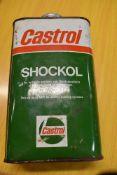 A vintage garage oil can for Castrol Shockol
