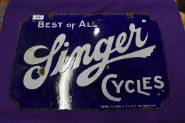 A genuine double sided enamel garage or shop sign for Singer Cycles in good condition