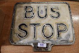 A genuine vintage cast Bus Stop sign