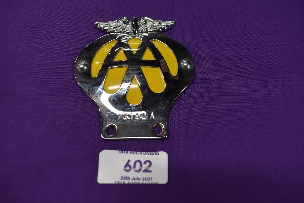 A small size motor cycle engine badge for the AA