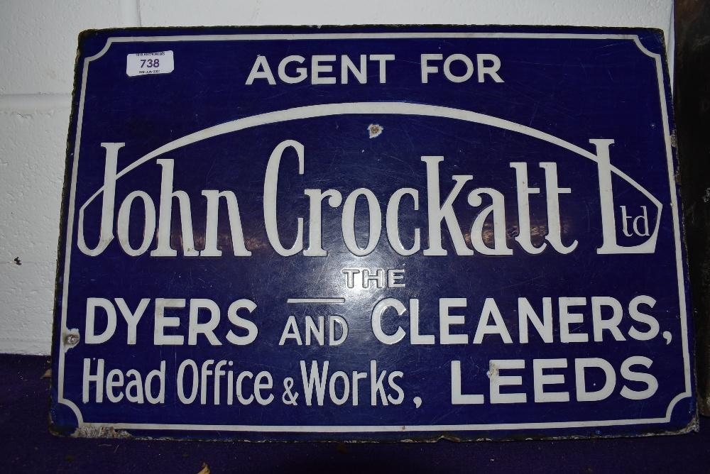 A genuine Vintage double sided enamel advertising sign for John Crockatt Leeds