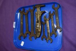 A selection of named motor car spanners including Ford Austin and Lister