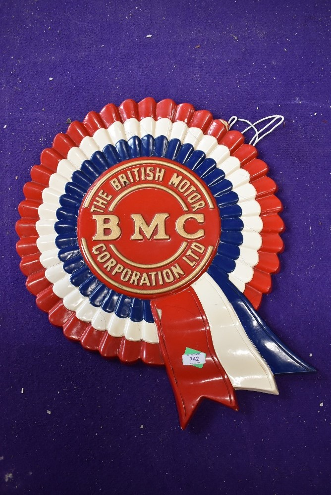 A genuine resin cast ribbon style sign for the BMC British Motor Corporation