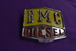 A BMC Diesel radiator badge.