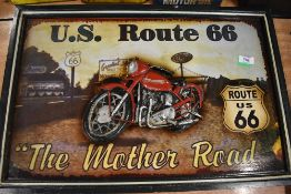 A reproduction style wall plaque for Route 66