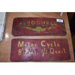 Two Aero Shell metal signs