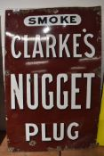 A genuine enamel advertising sign for Clarke's Nugget Plug tobacco